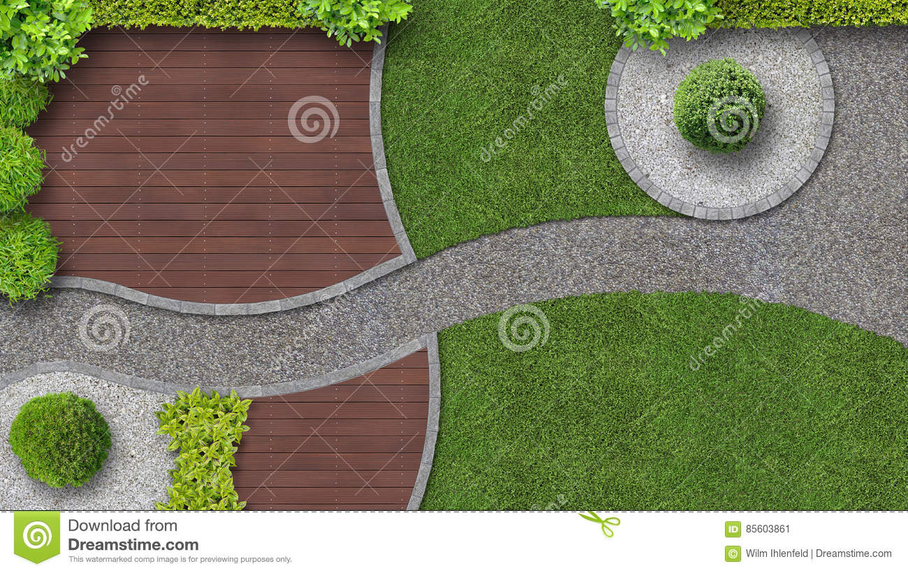 Garden design in top view with terrace stock image image for Top garden designers