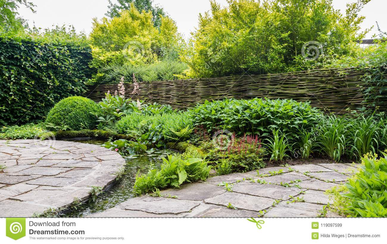 Garden Design With Water Elements Stock Image - Image of ...