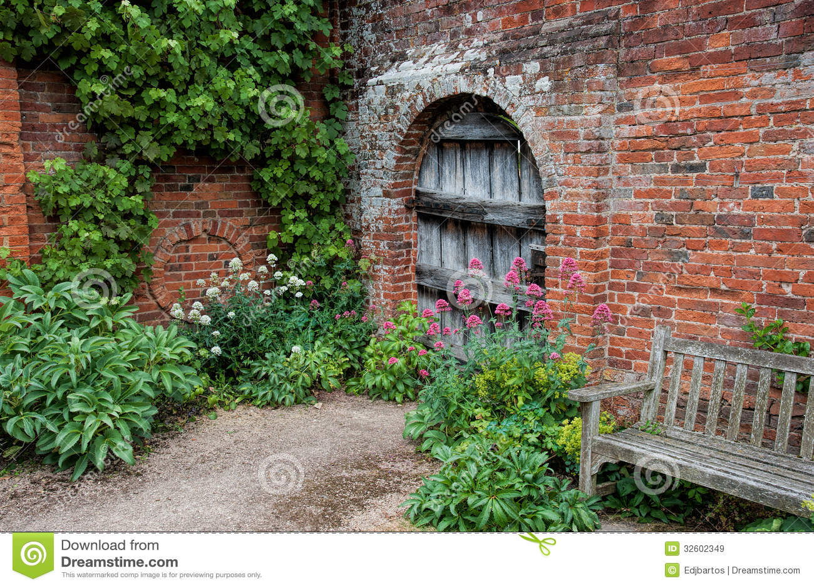 Garden Doorway stock image. Image of wooden, leaves, wood ...