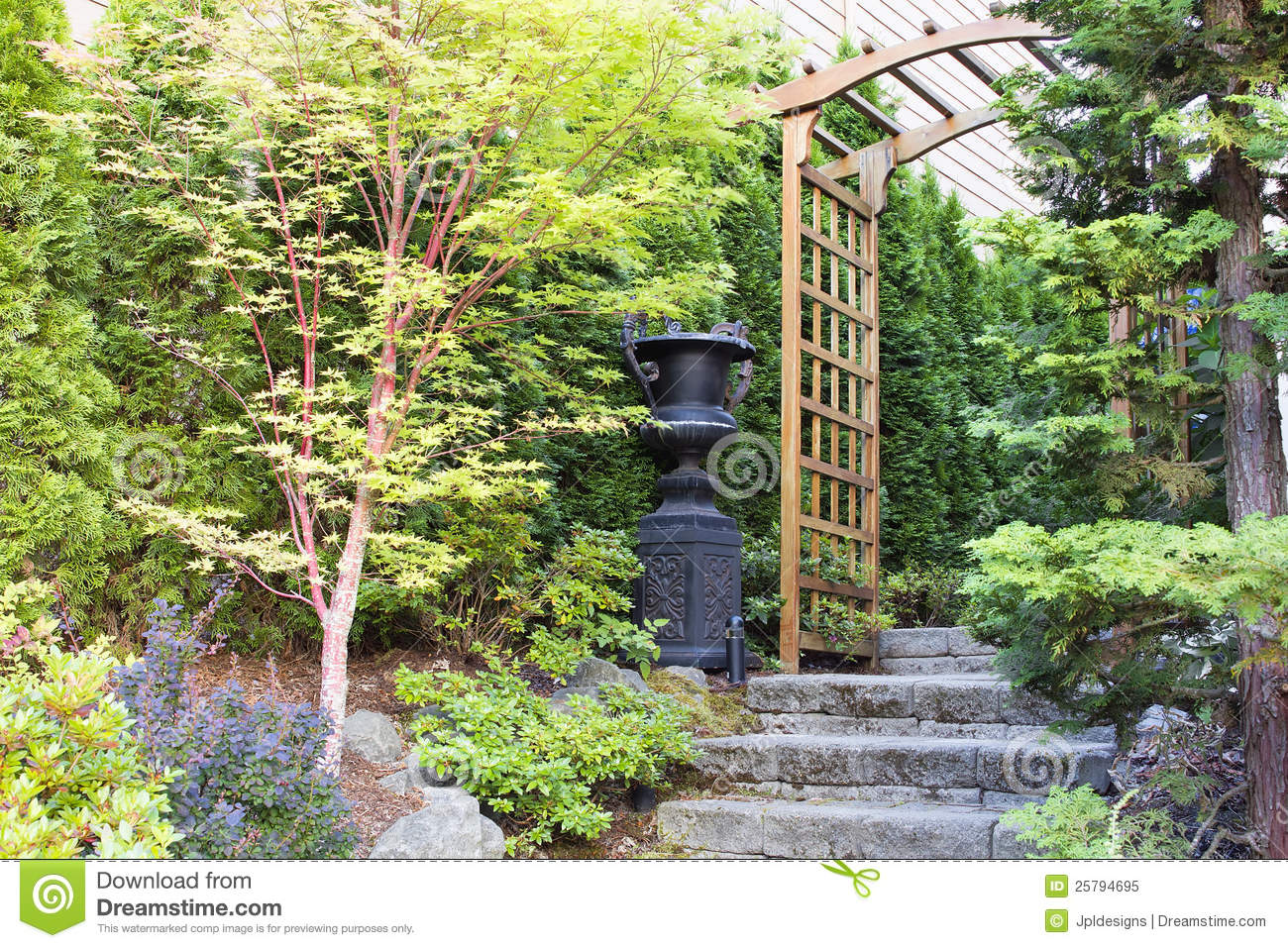 Garden Entrance With Arbor And Stone Steps Royalty Free