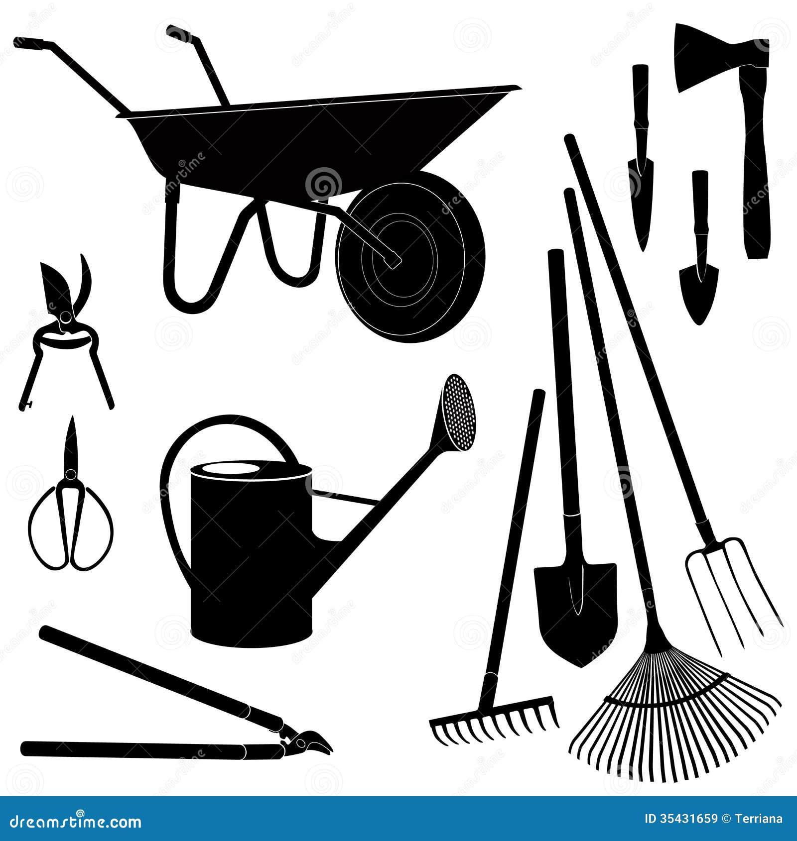 Garden equipment vector icon set royalty free stock for Gardening tools vector