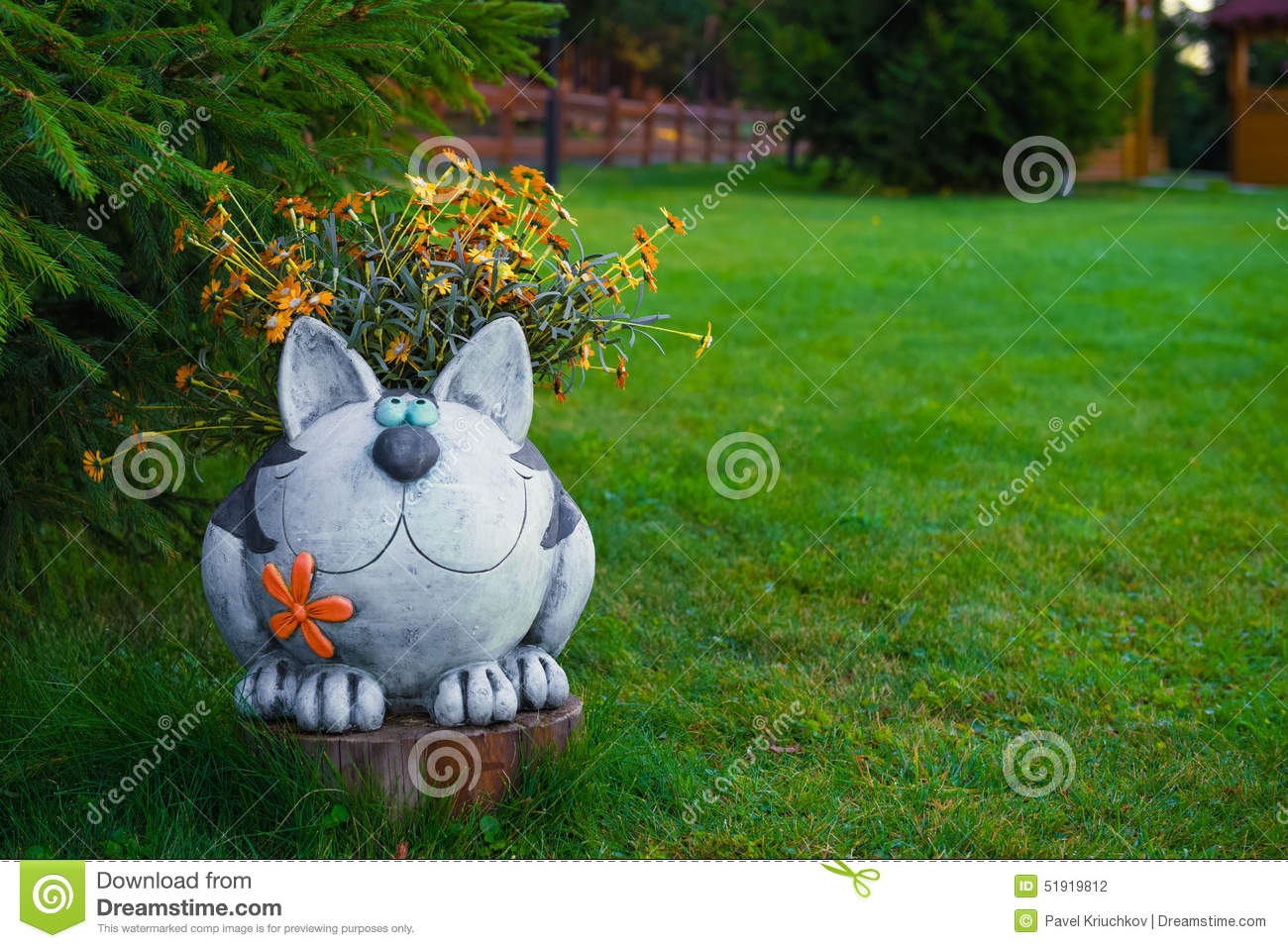 Download Garden Figures   The Cat In The Garden Stock Photo   Image Of Lawn,