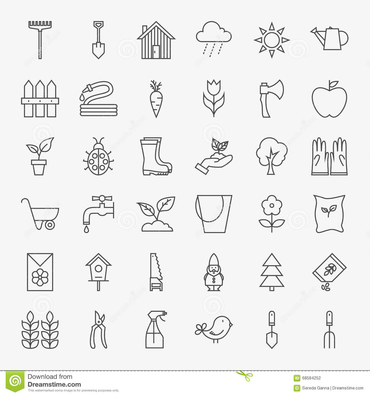 Outline Icon Collection Flower And Gardening Cartoon