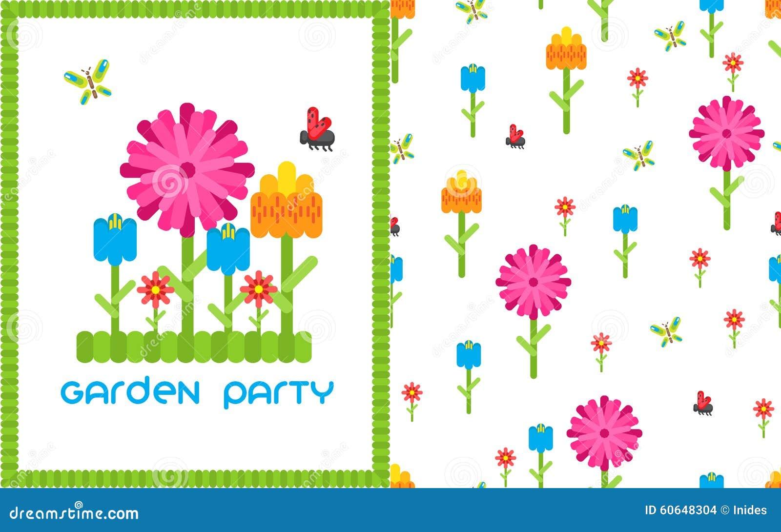 Garden Flower Party Vector Card Template. Stock Vector ...