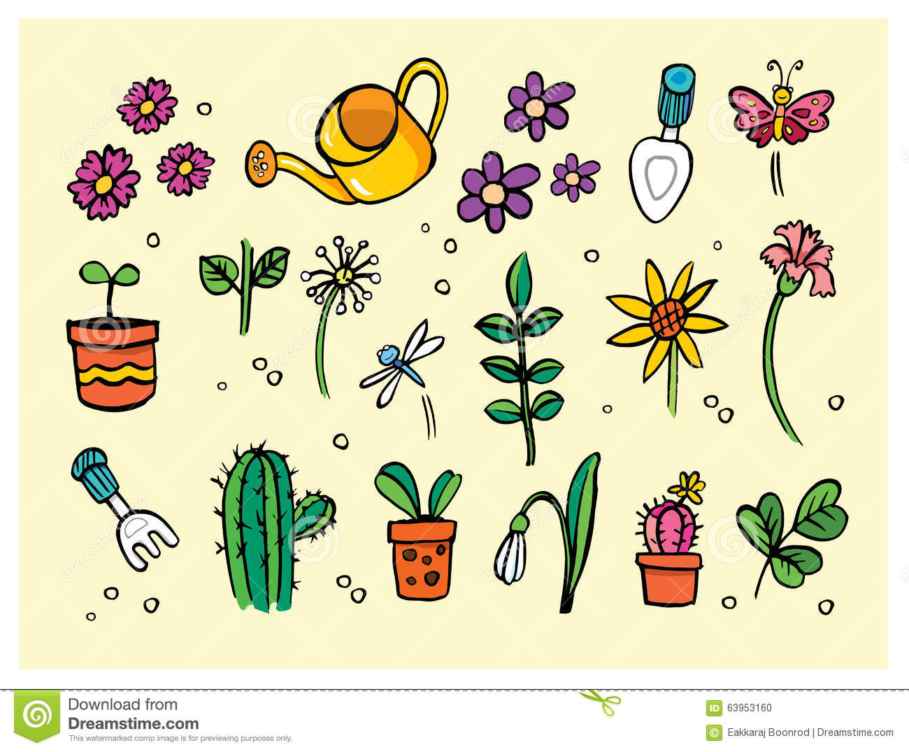 Garden Flower Tools And Plants Stock Vector Image 63953160