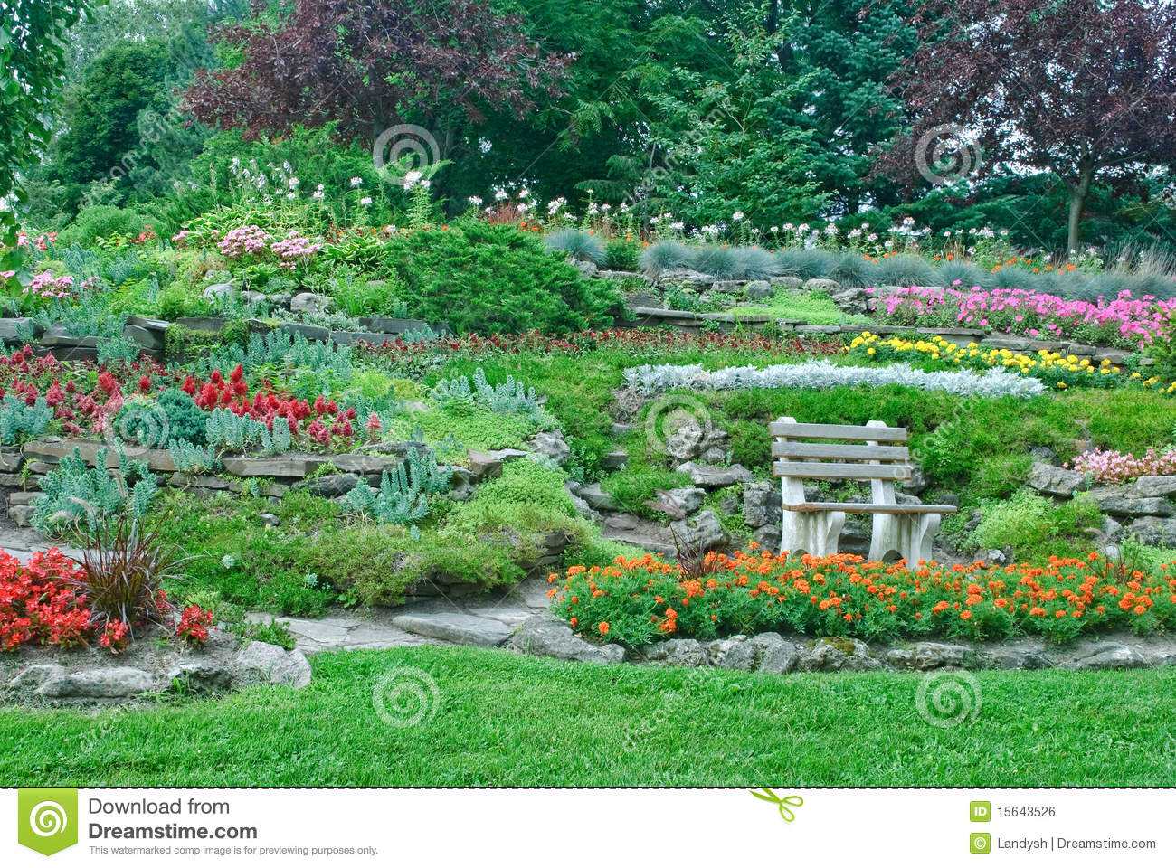 Garden With Flowerbeds Plants In A Park Stock Photo