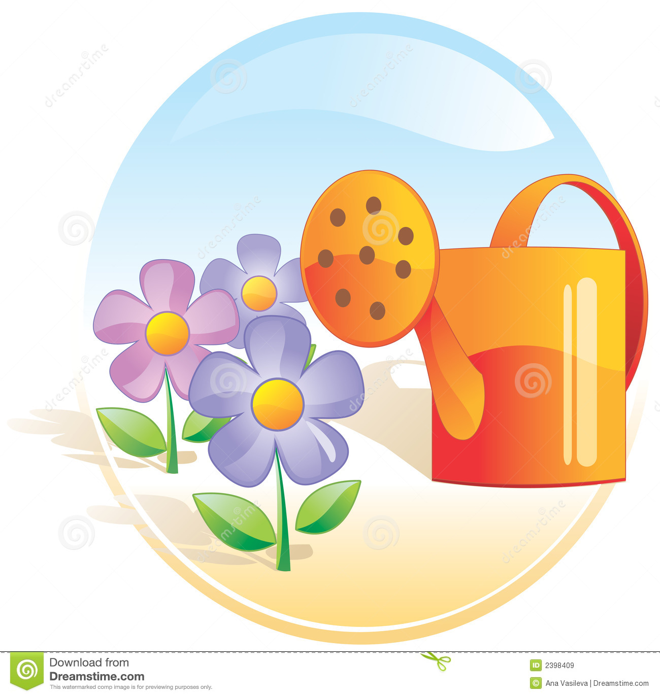 Garden Flowers Watering Can Royalty Free Stock Images Image