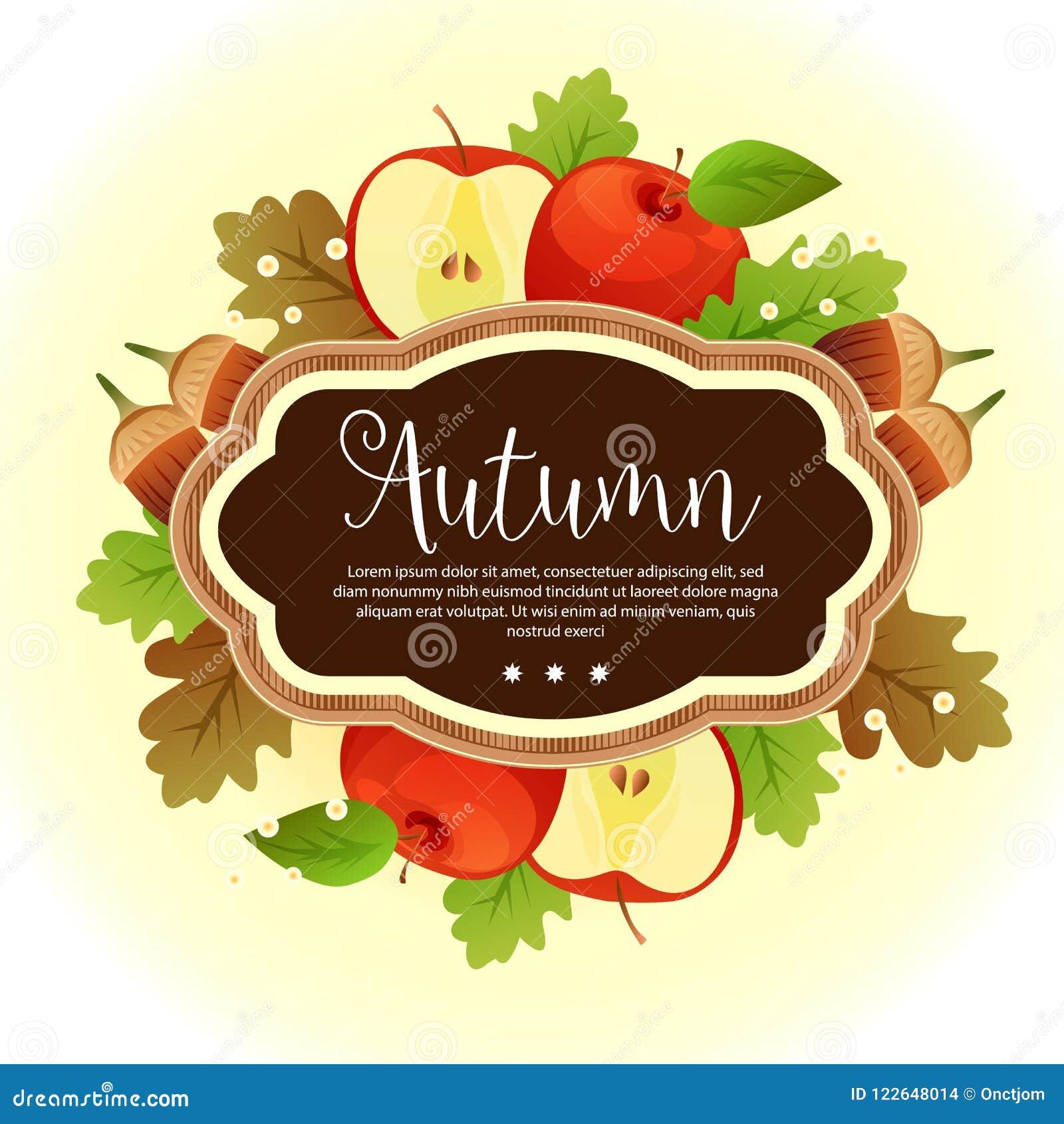 Garden Foliage Template Autumn Apple Canary Stock Vector ...