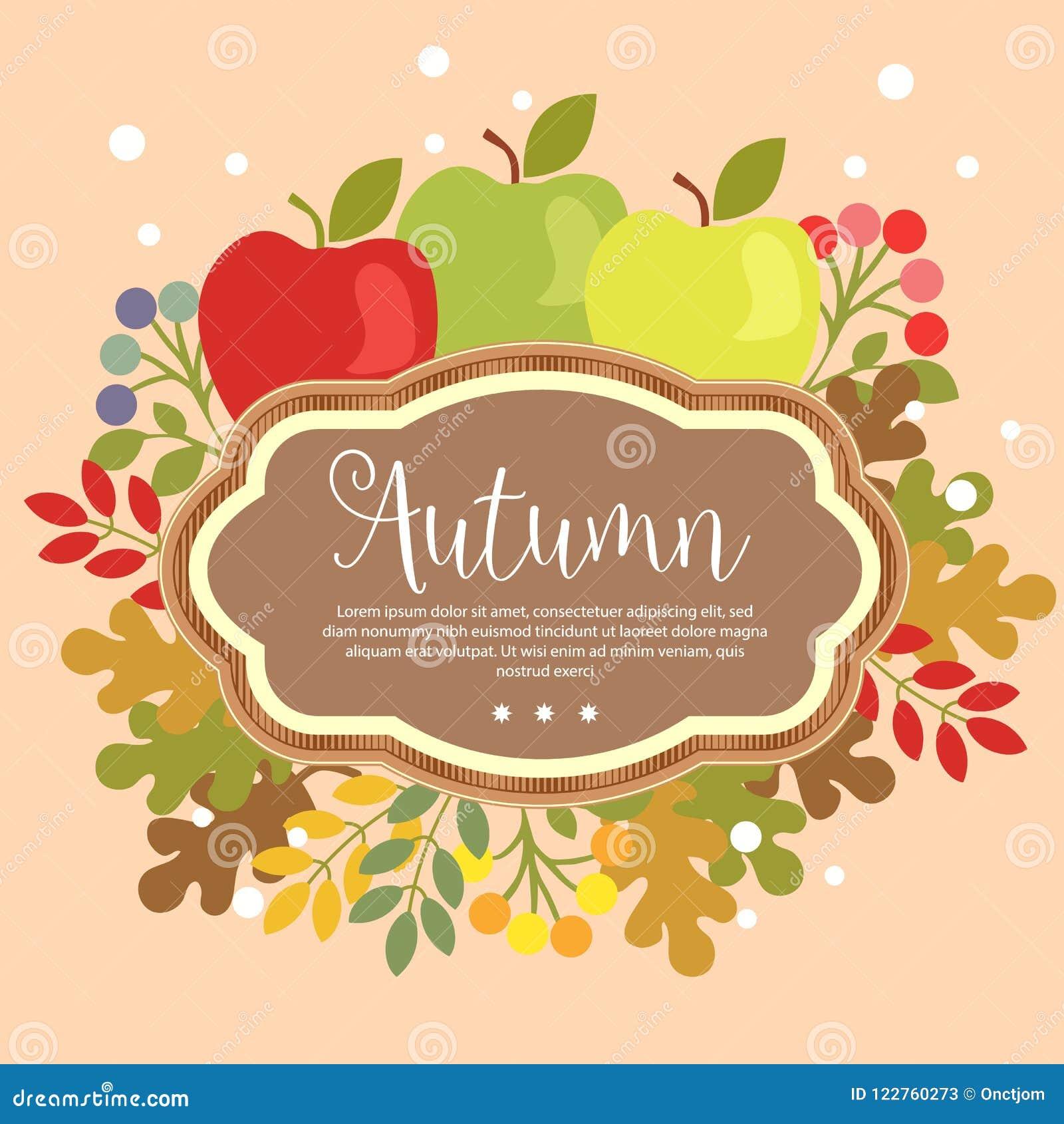 Garden Foliage Template Autumn Apple Flat Style Stock Vector ...