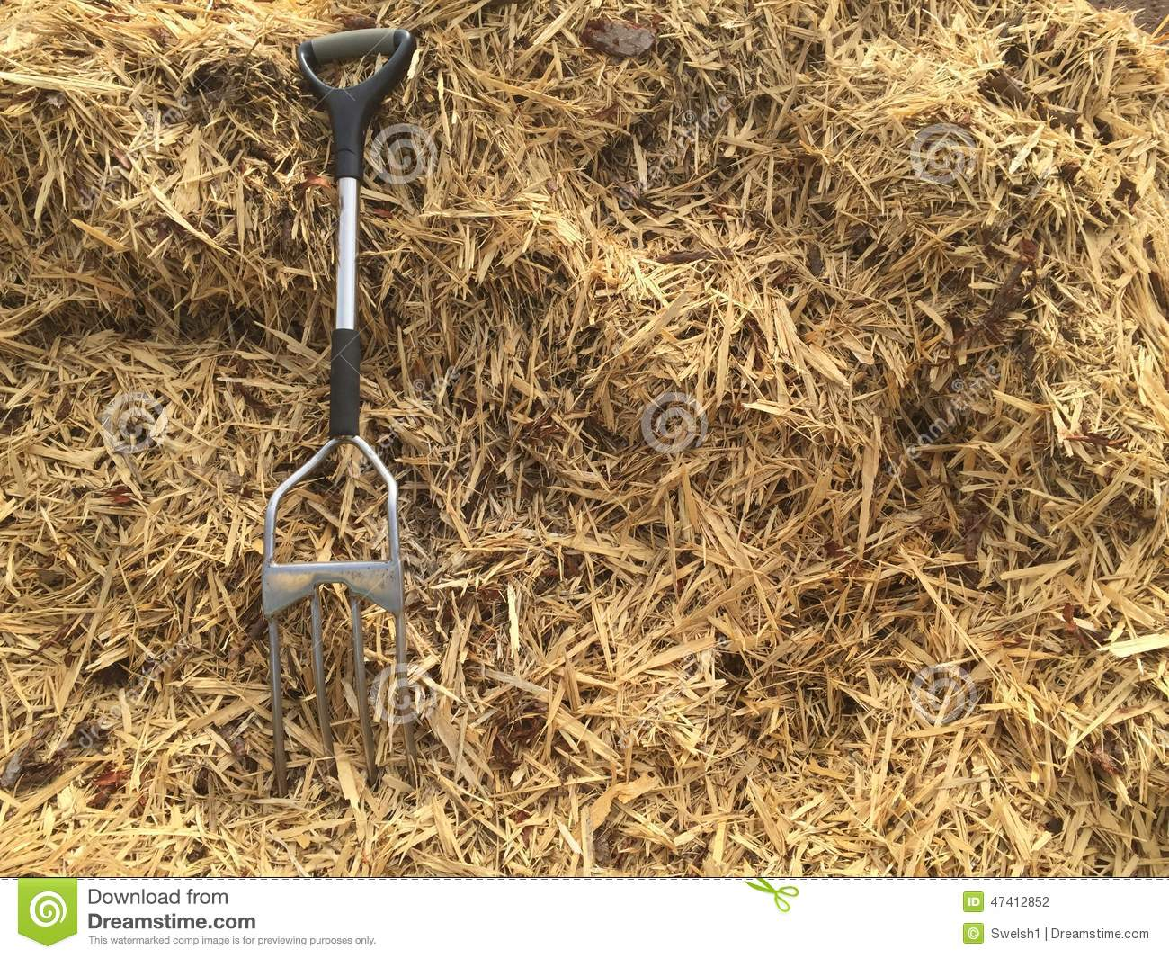 Garden Fork And Mulch Stock Photo  Image 47412852