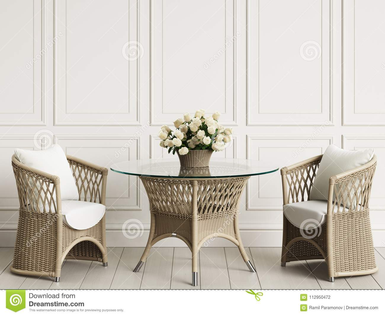 Garden Furniture In Classic Interior Rattan Chairs Table Vase With