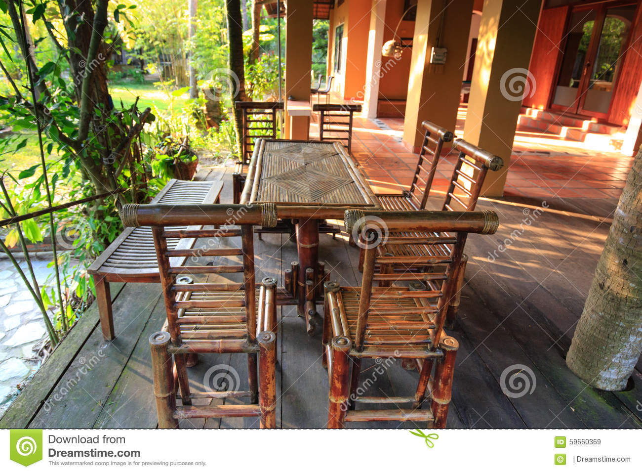 Garden Furniture Made From Bamboo Stock Image Image Of Close  # Muebles De Bamb?