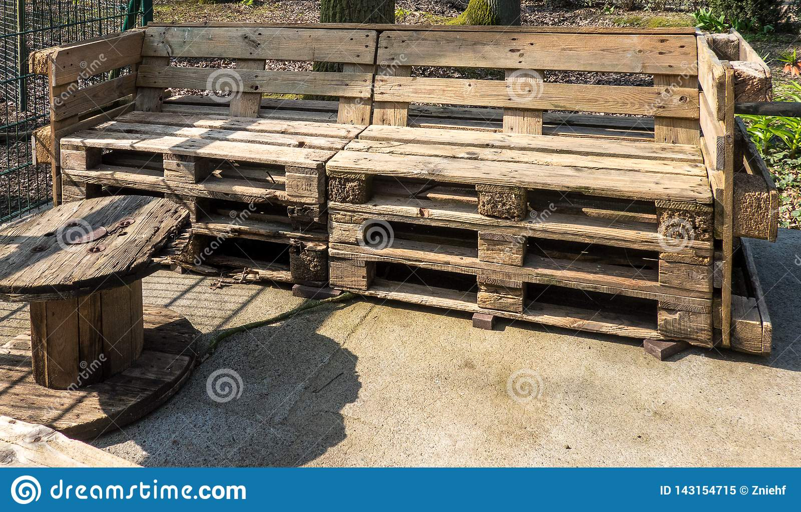 Garden Furniture Made by Hand from Old Used Europallets Stock ...