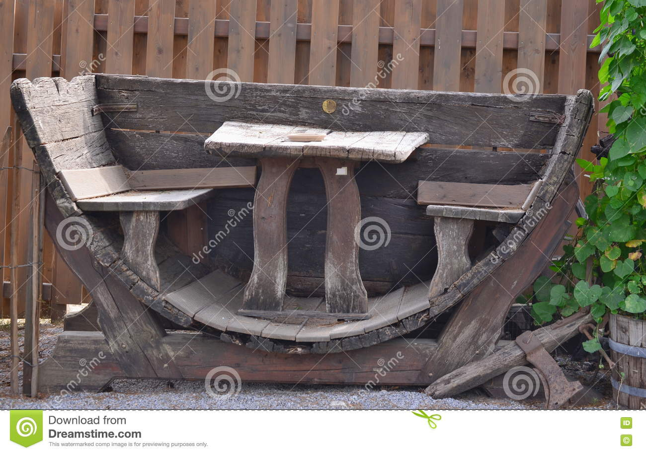 Garden Furniture Made From Wine Barrels Stock Photo Image Of Bench
