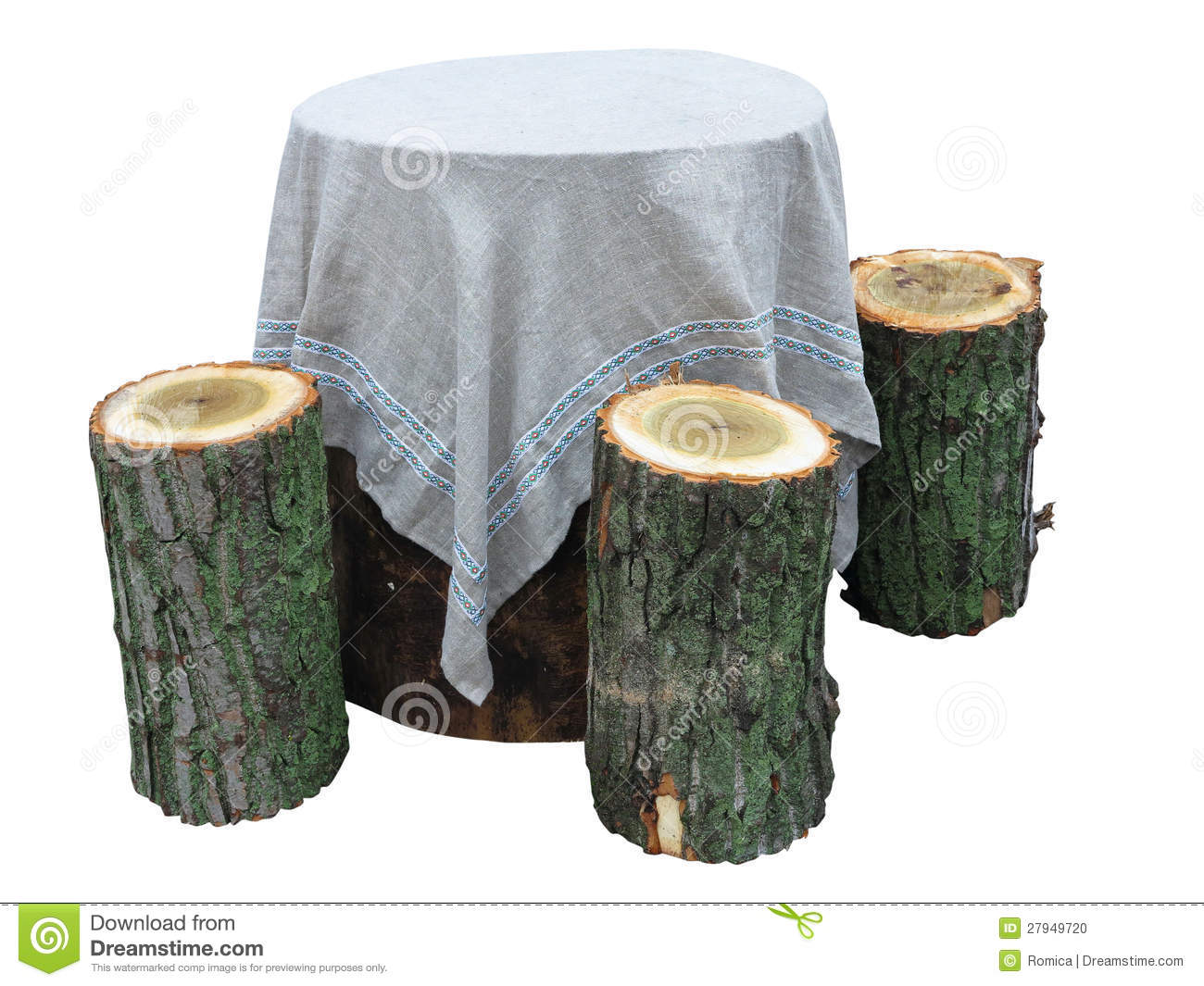 Garden furniture made from wooden log isolated Stock Photo. Garden Furniture Made From Wooden Log Isolated On White Stock