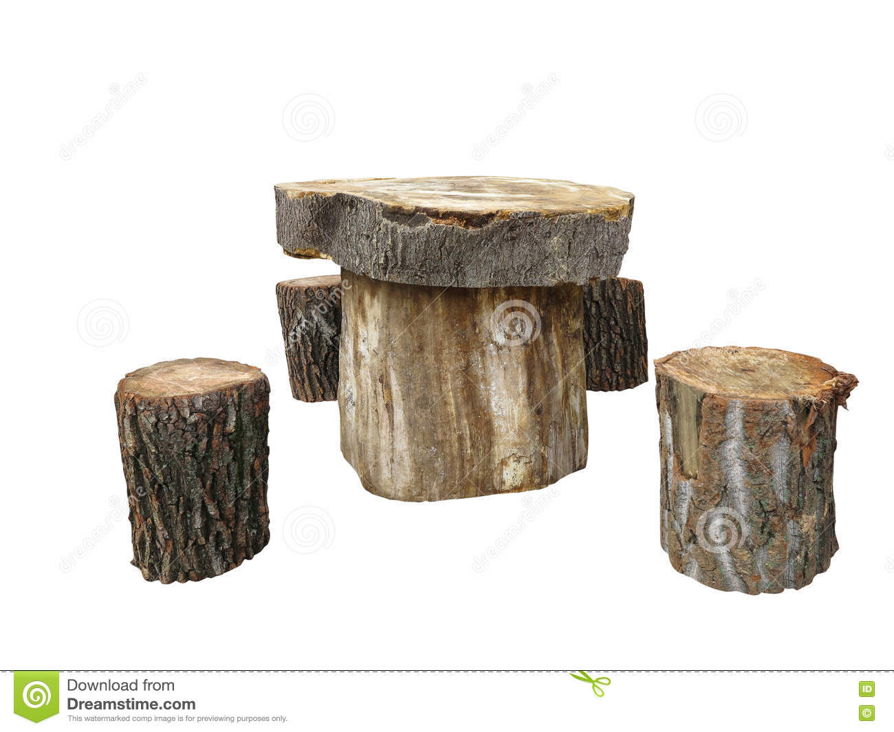 Garden furniture made from wooden log isolated on white. Garden Furniture Made From Wooden Log Isolated On White Stock