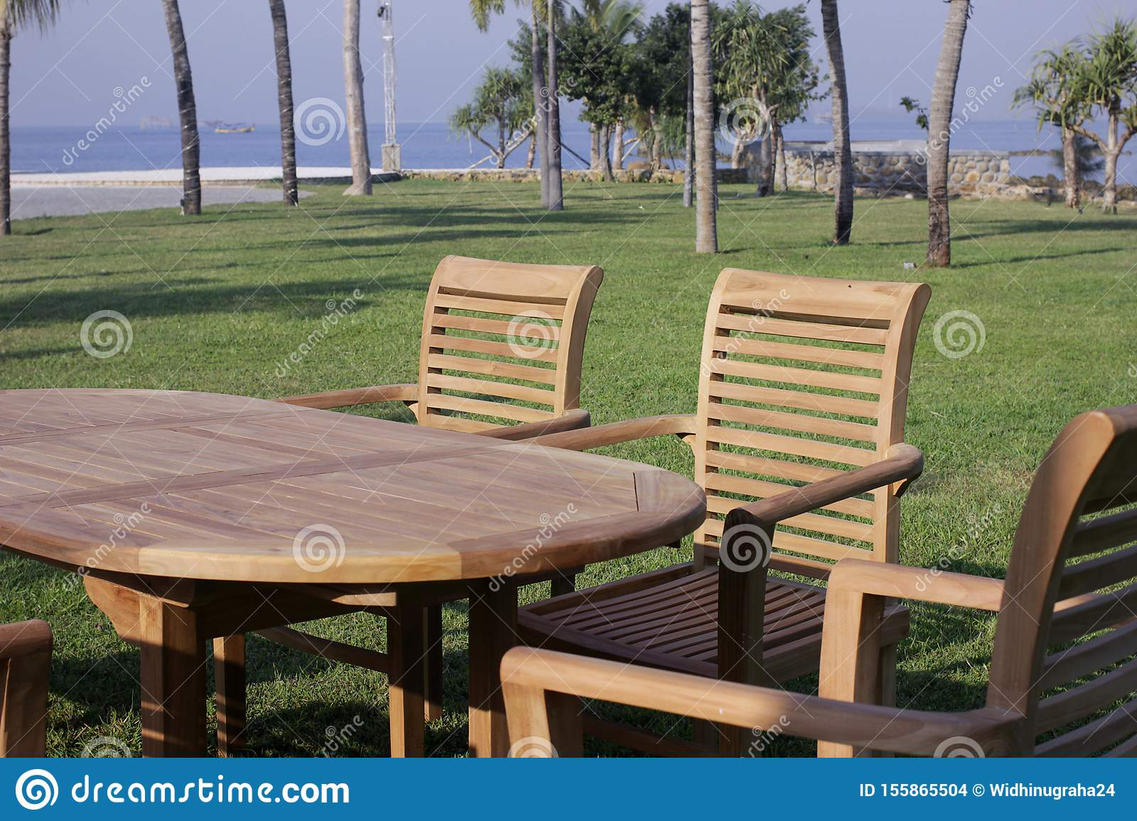 Picture of: Garden Furniture Outdoor Teak Dining Table Chairs Stock Photo Image Of Furnitureminimalis Wood 155865504