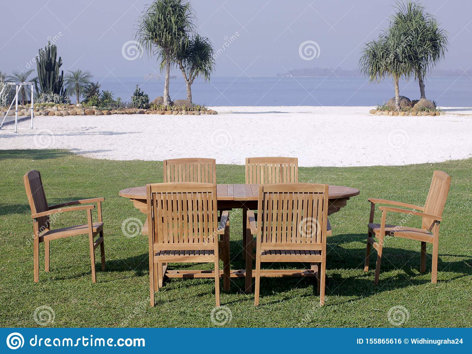 Picture of: Garden Furniture Outdoor Teak Dining Table Chairs Stock Photo Image Of Minimalisfurniture Furniture 155865616