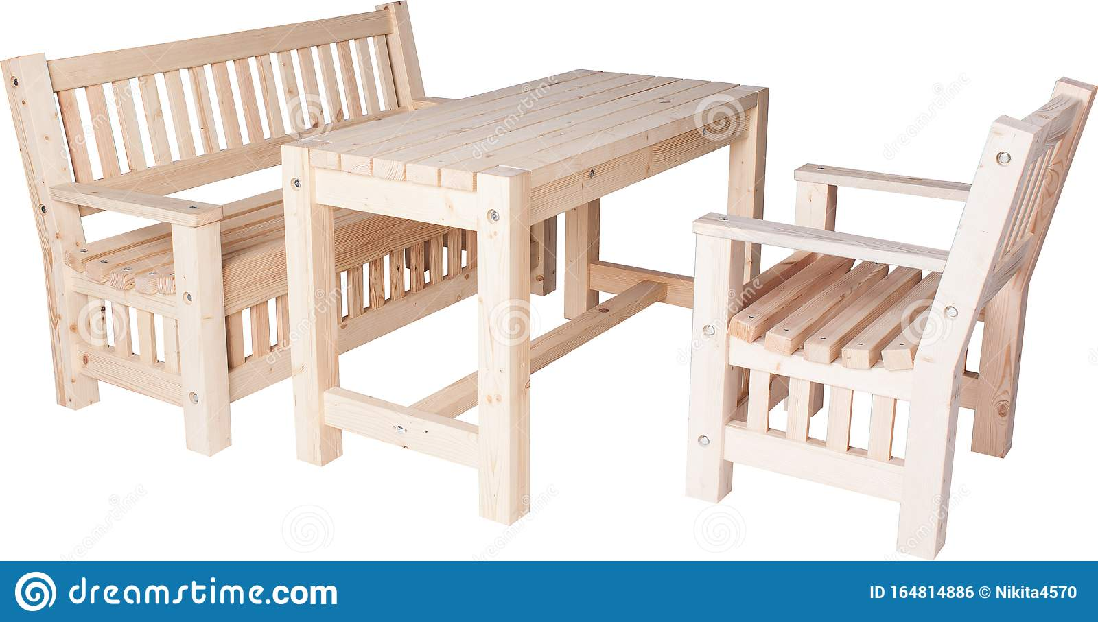 Picture of: Garden Furniture Set Of Chairs Bench And Table Isolated On White Stock Photo Image Of House Brown 164814886