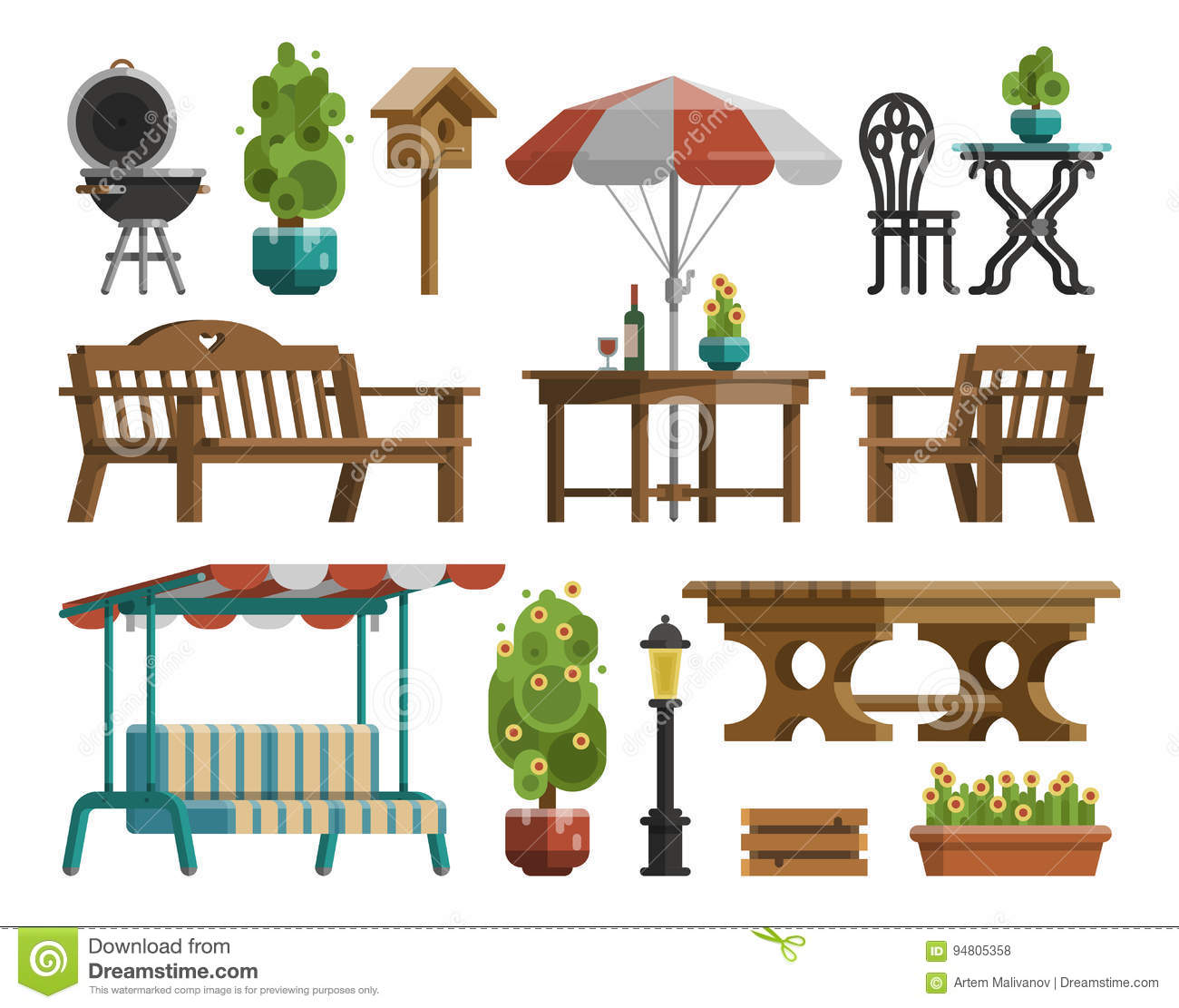 Garden Furniture Tables Chairs Decorative Trees Stock Vector