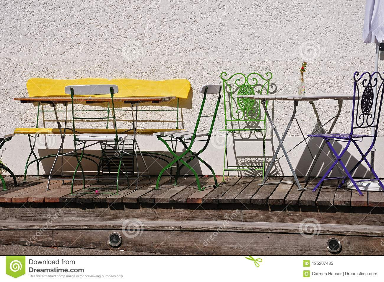 Outdoor Furniture In Front Of A House Stock Image Image Of Bench Front 125207485