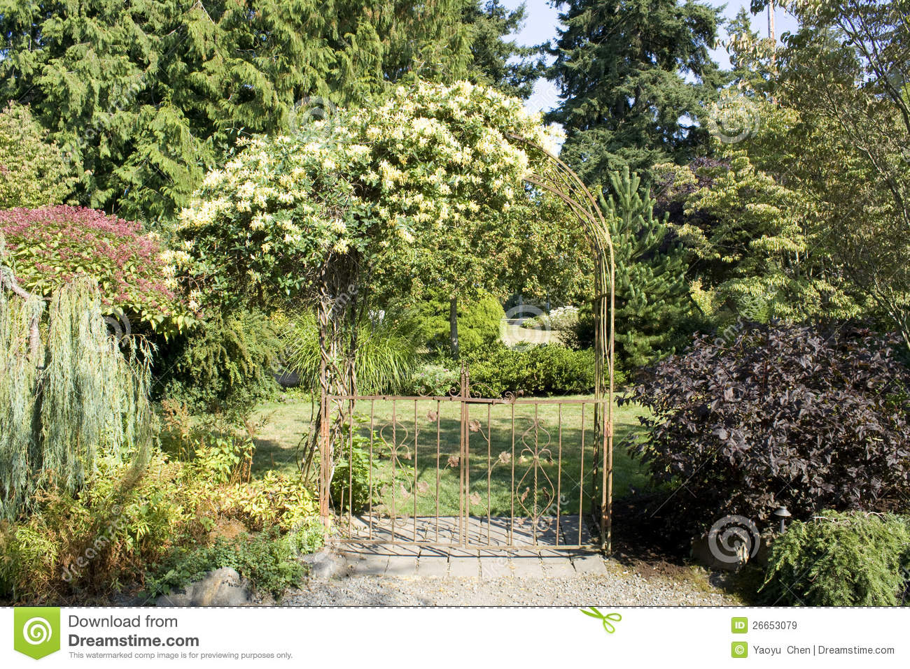 Free stock photo of garden - Garden Gate With Beautiful Flowers Royalty Free Stock Images