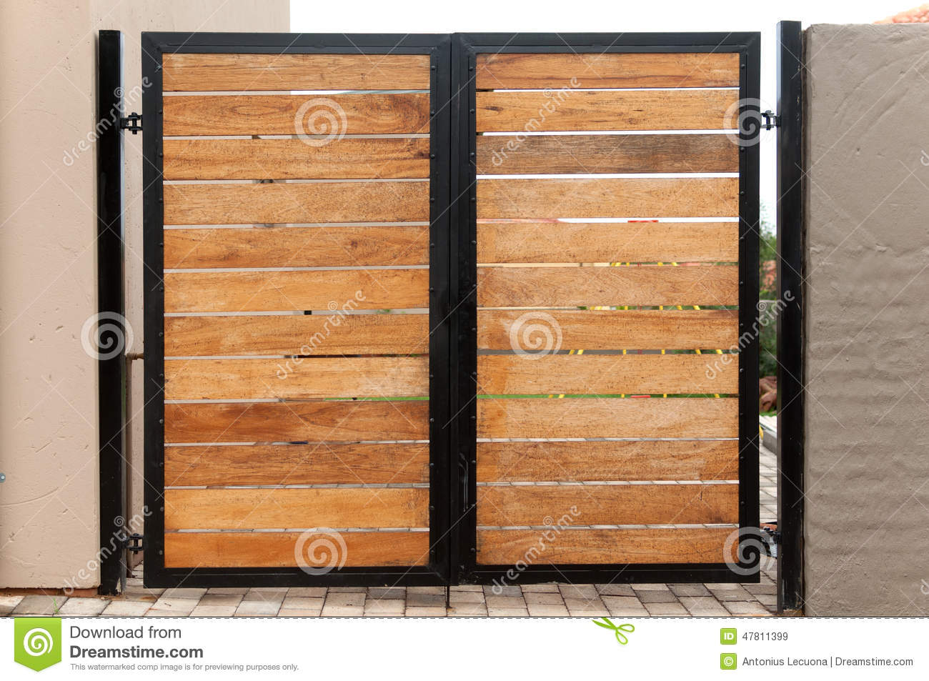 Garden Gate Made Of Wood And Iron Stock Image Image Of