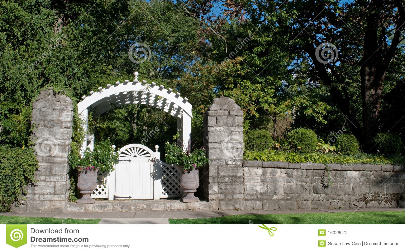 Garden Gate With Stone Wall Stock Photo Image Of Lattice