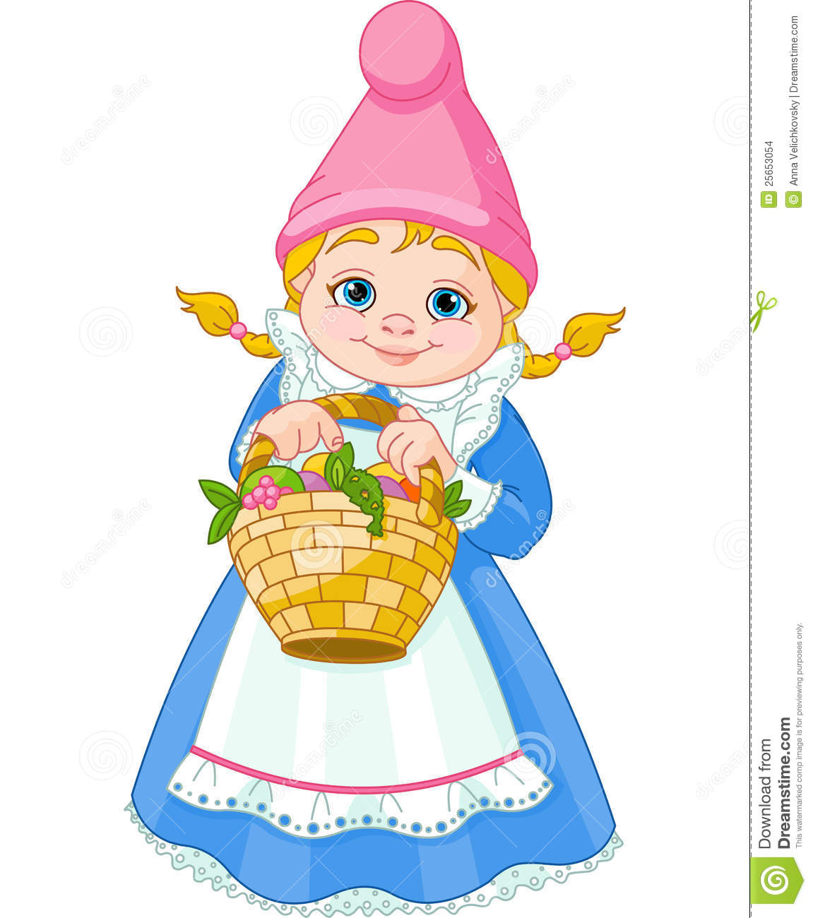 Gnome Clip Art: Garden Gnome With Basket Stock Images