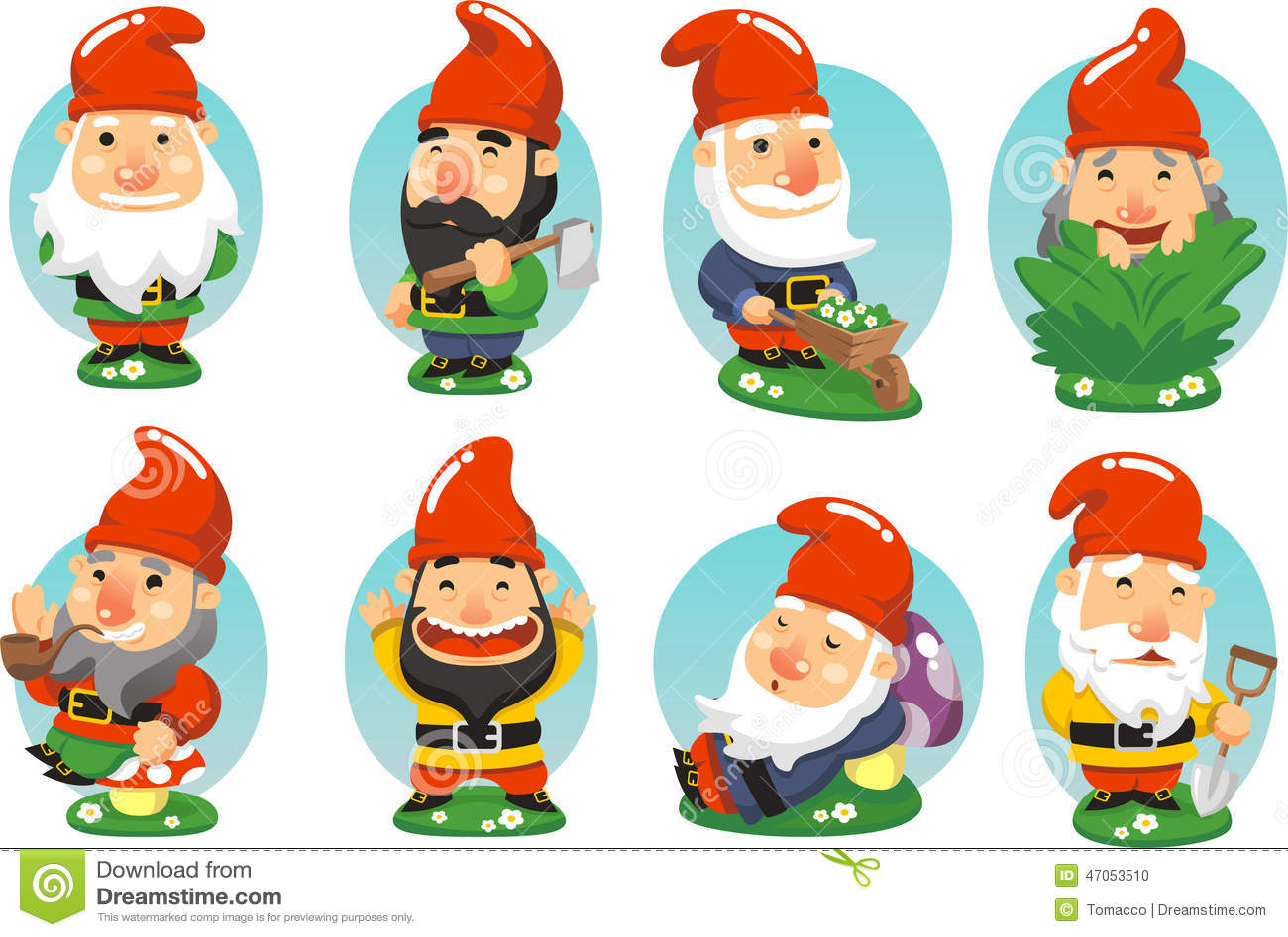Garden Gnome Cartoon Collection Stock Illustration