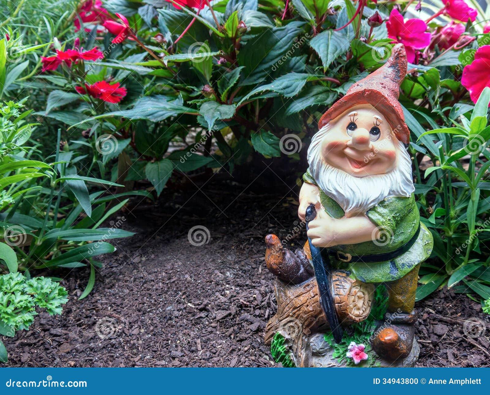 Gnome In Garden: Garden Gnome Stock Photo. Image Of Novelty, Happy