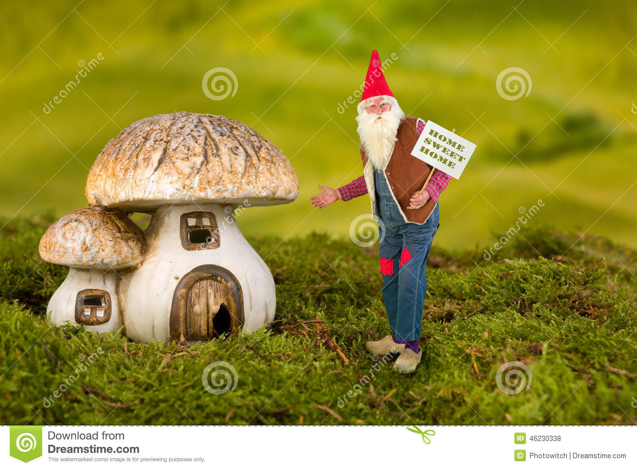 Real Gnomes: Garden Gnome With Toadstool Stock Photo