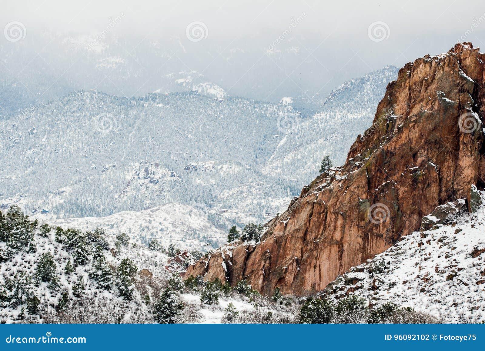 Garden Of The Gods Winter Snow Stock Photo Image Of Frozen