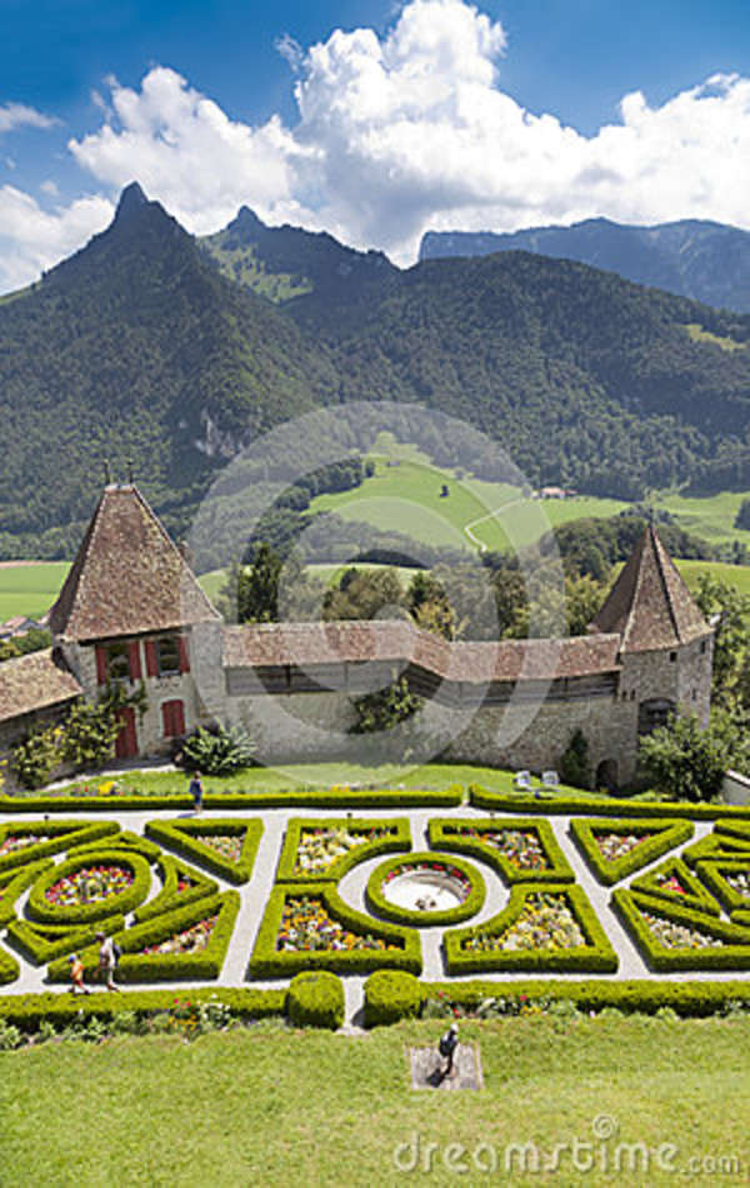 A garden in Gruyere castle in sunny summer day, Switzerland