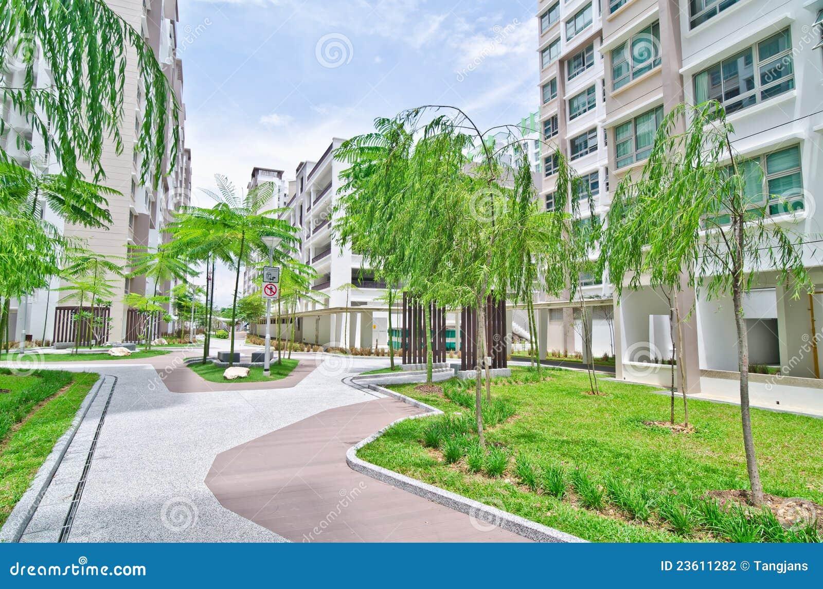 Garden Within High Rise Residential Estate Stock Photo