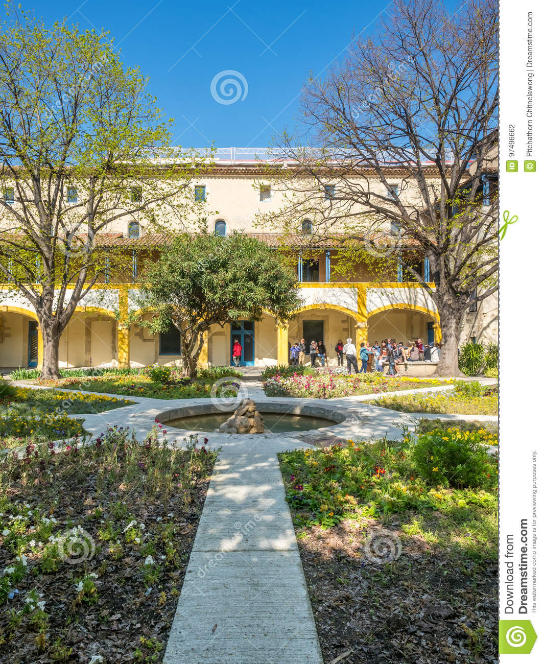 Download Garden Of Hospital In Arles, France Editorial Photography   Image  Of Building, Painting