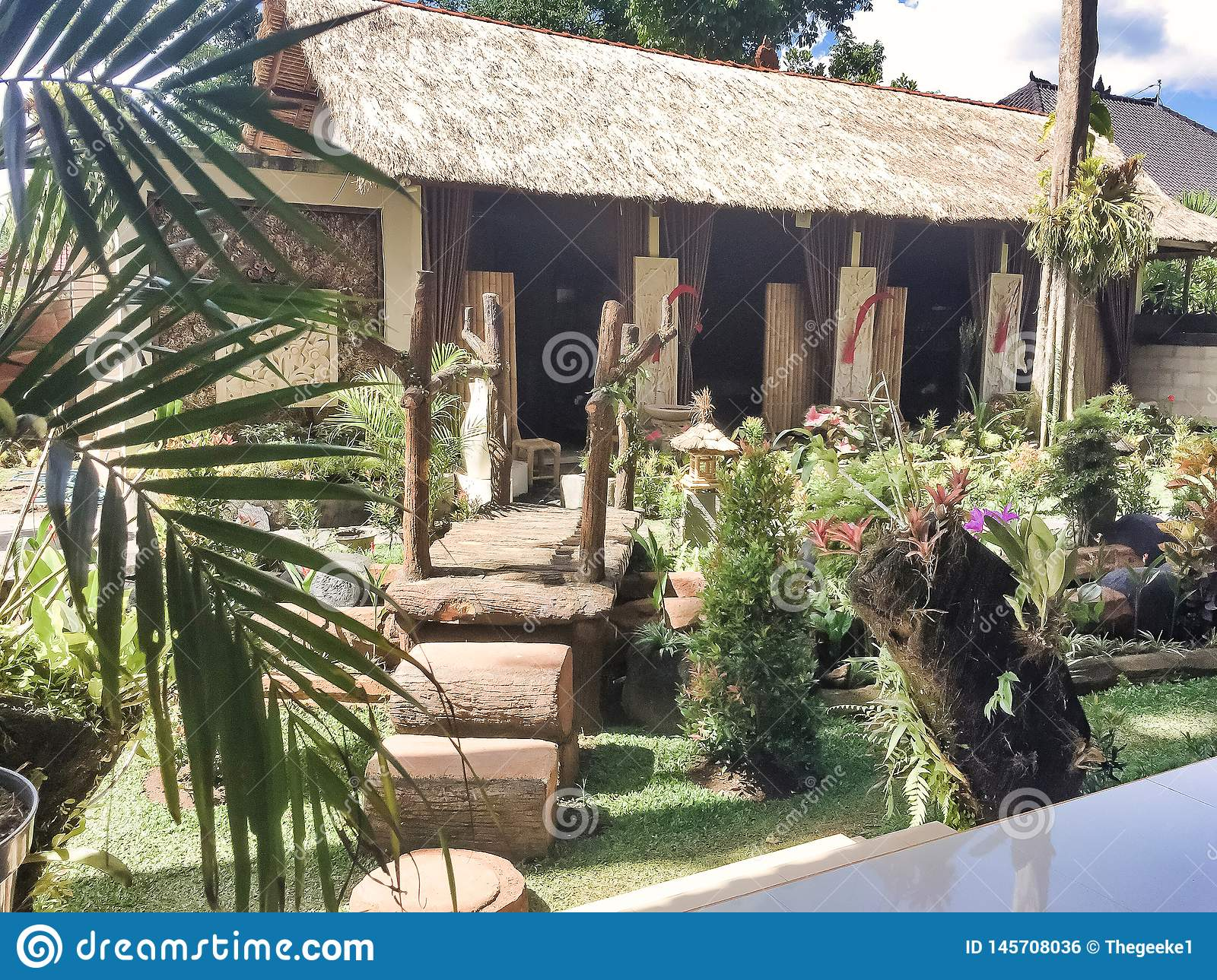 The garden at the house of Ketut Liyer for tourists in Ubud,Bali, Indonesia.