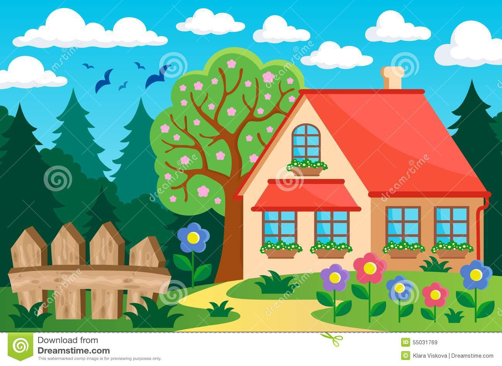 Garden and house theme background 3 stock vector - Arbolitos para jardin ...