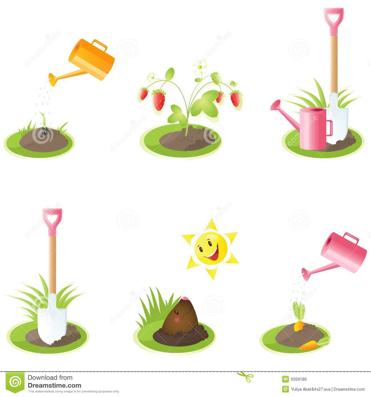 Set of garden icons for your design eps images frompo for Landscape design icons