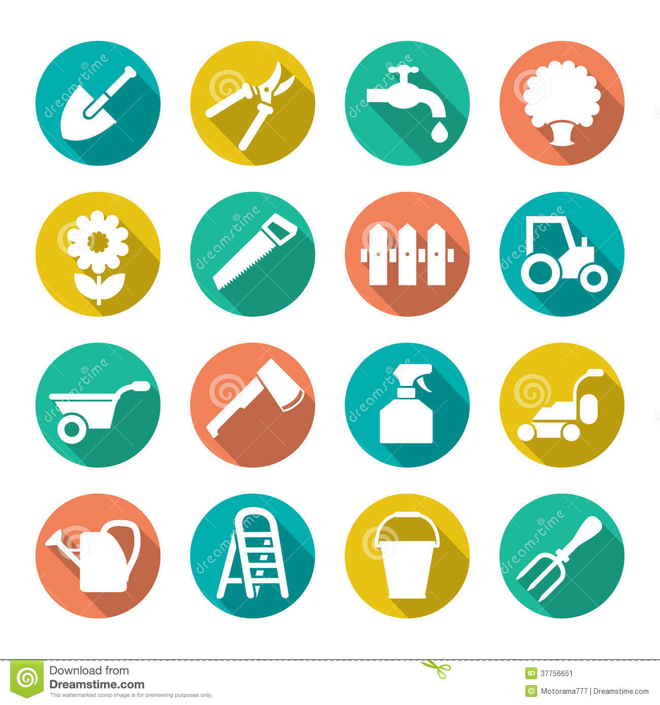 Garden Icons In Flat Style Stock Vector. Illustration Of
