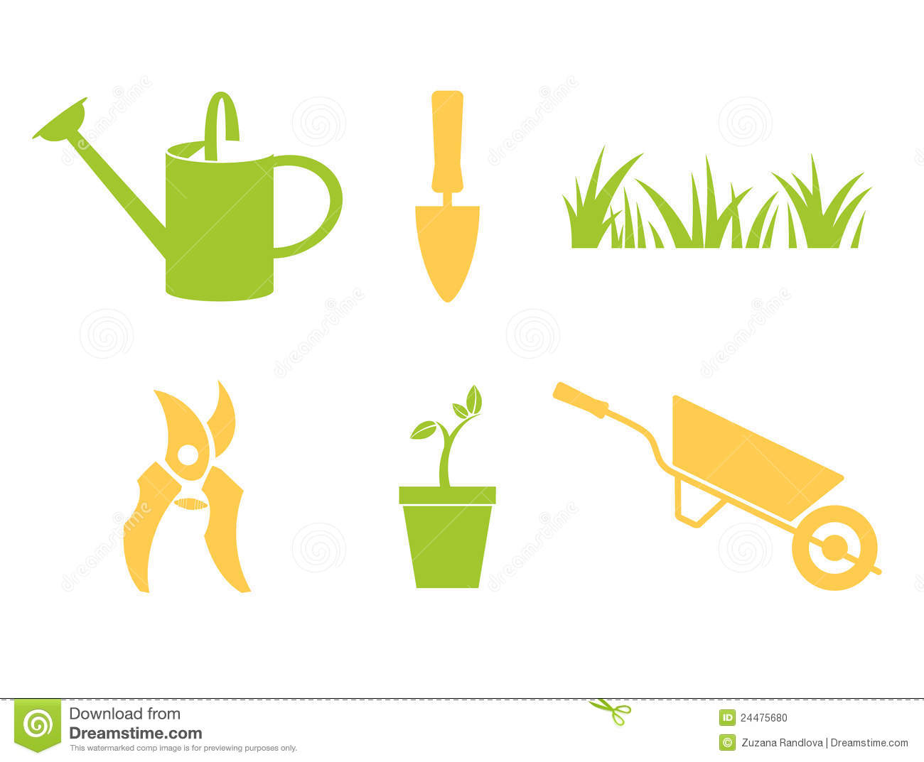 Garden objects & design elements isolated on white.