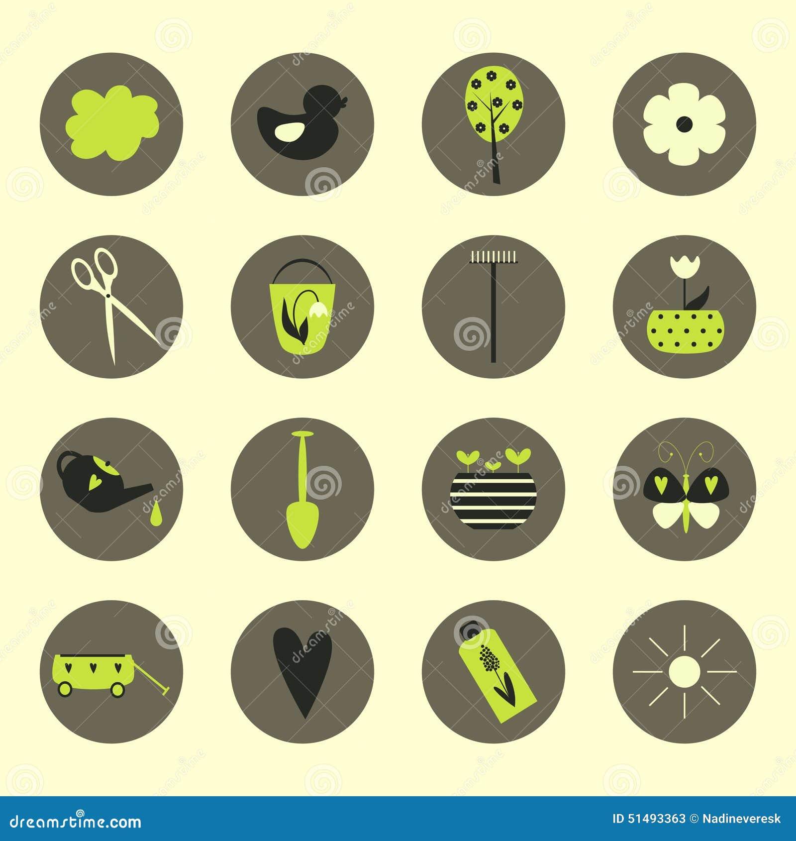 Garden Icons Stock Vector Image 51493363