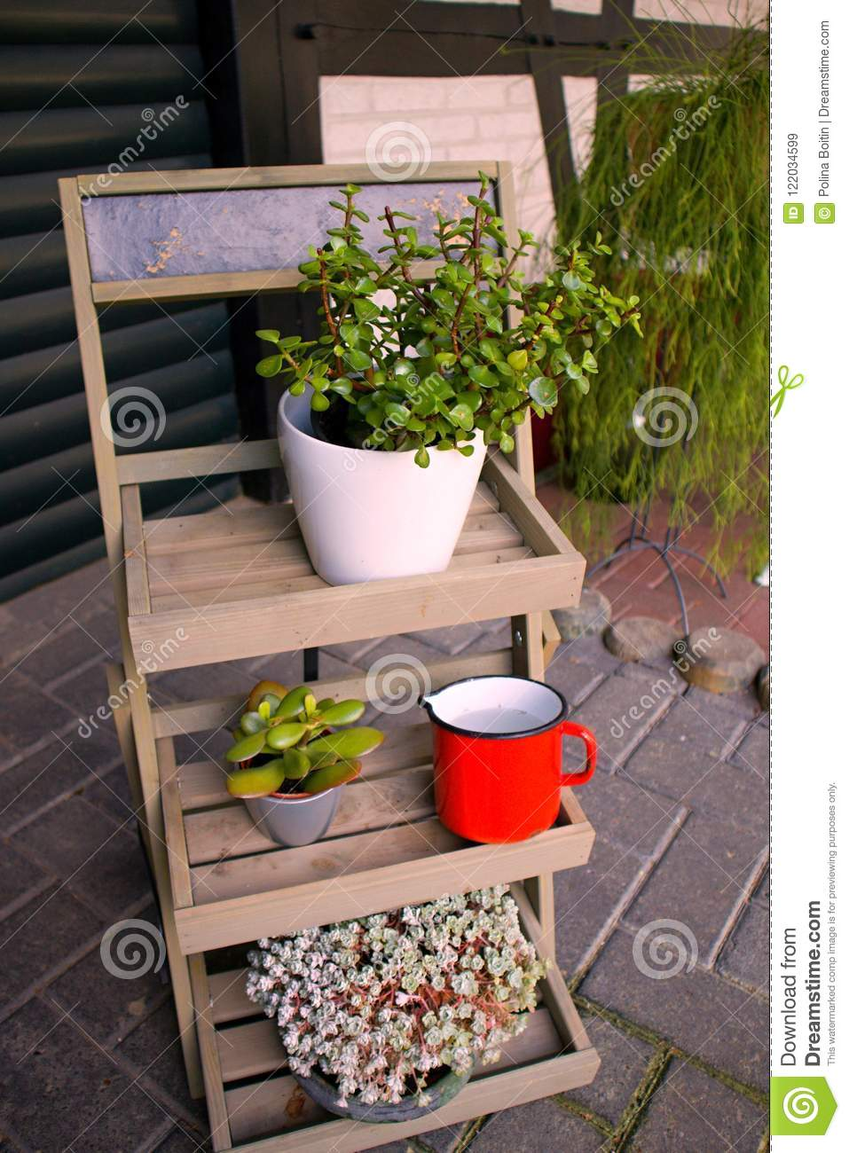 Garden Ideas Simple Design Wood Ladder Plant Stand Stock Image Image Of Antique Easy 122034599