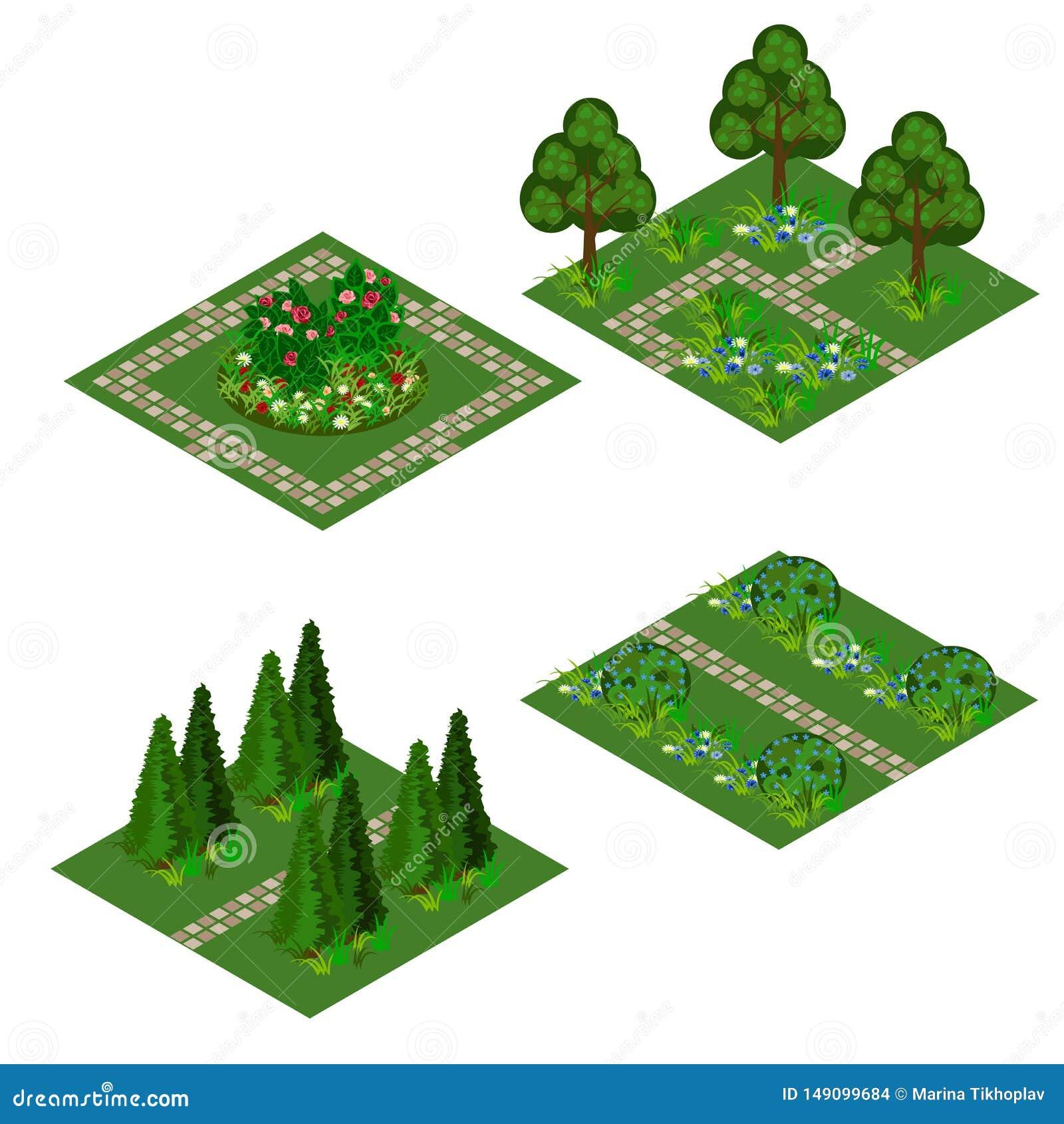 Garden isometric asset for design landscape in game or cartoon
