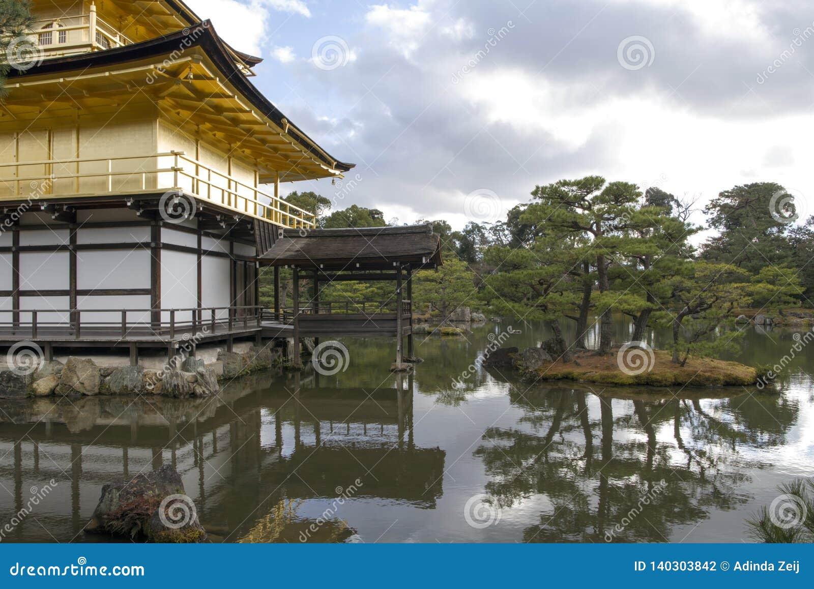 The garden at Kinkakuji Temple in Kyoto, Japan