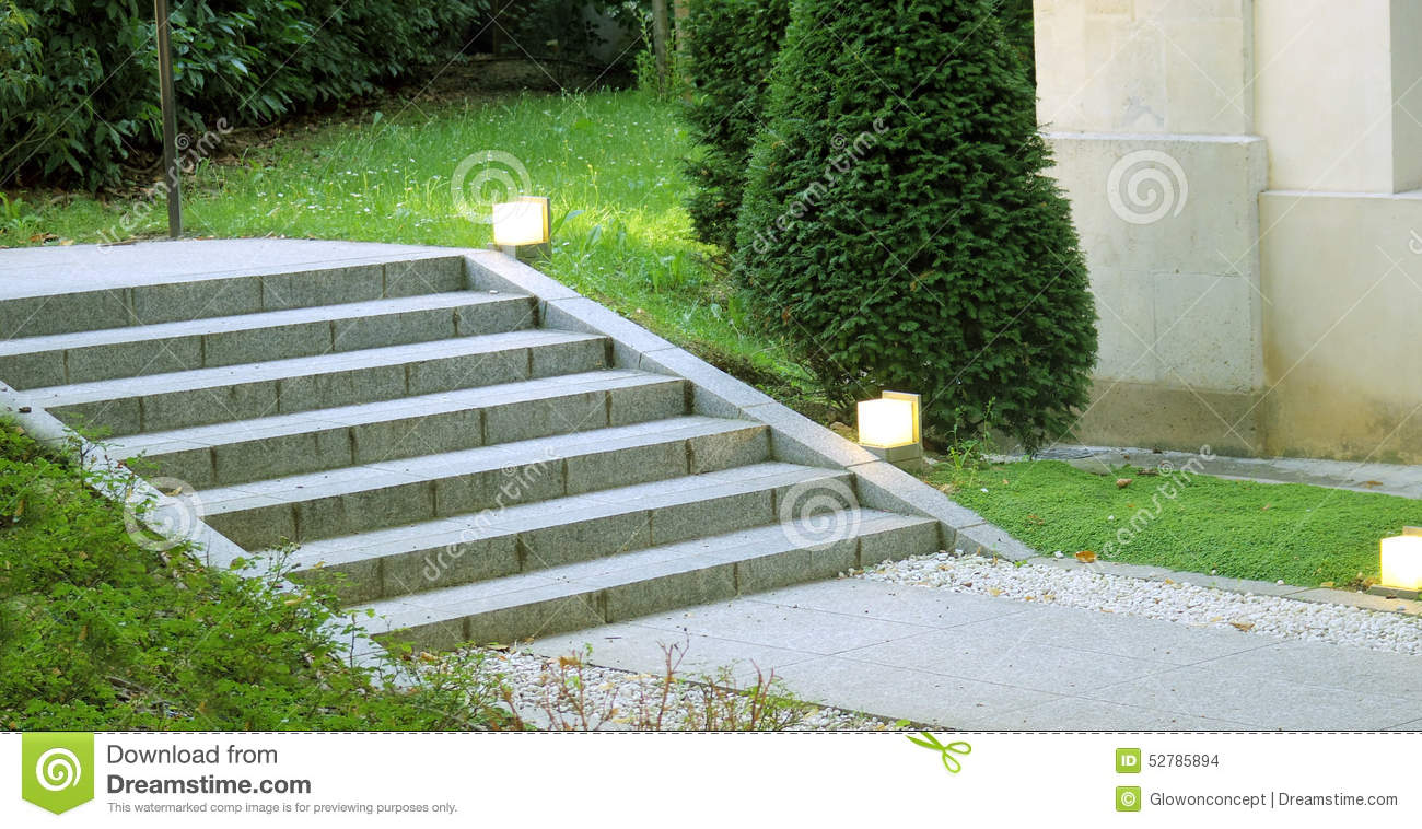 Garden landscape design stair with light stock photo for Green landscape design