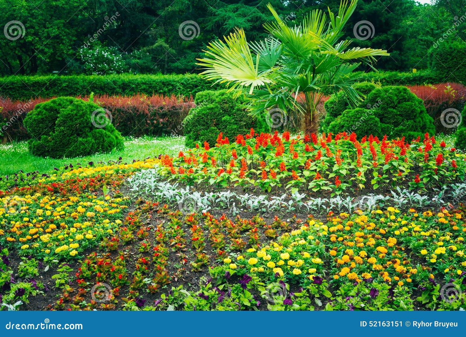 Green Art Landscape Garden Design : Garden landscaping design flower bed green trees stock