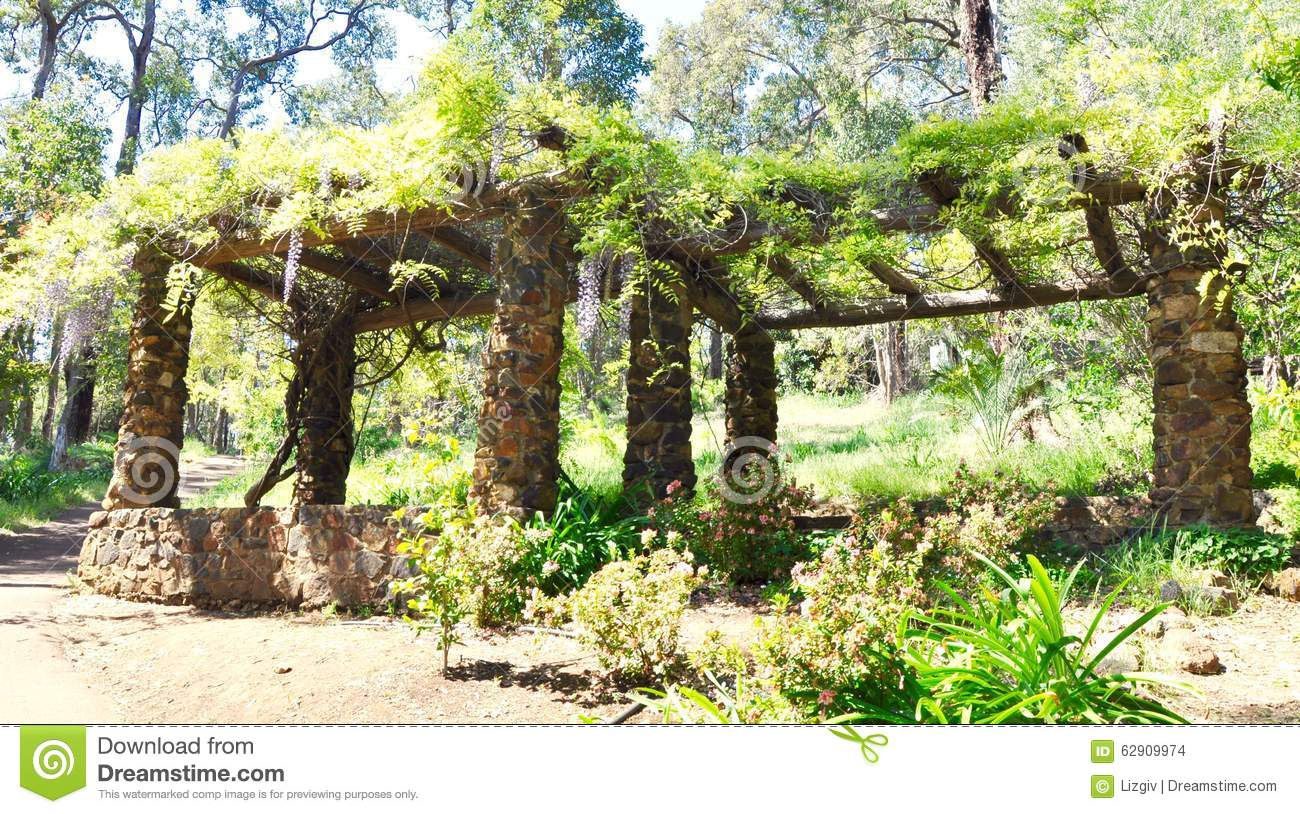 Garden Limestone Arbor With Hanging Wisteria Stock Photo Image Of