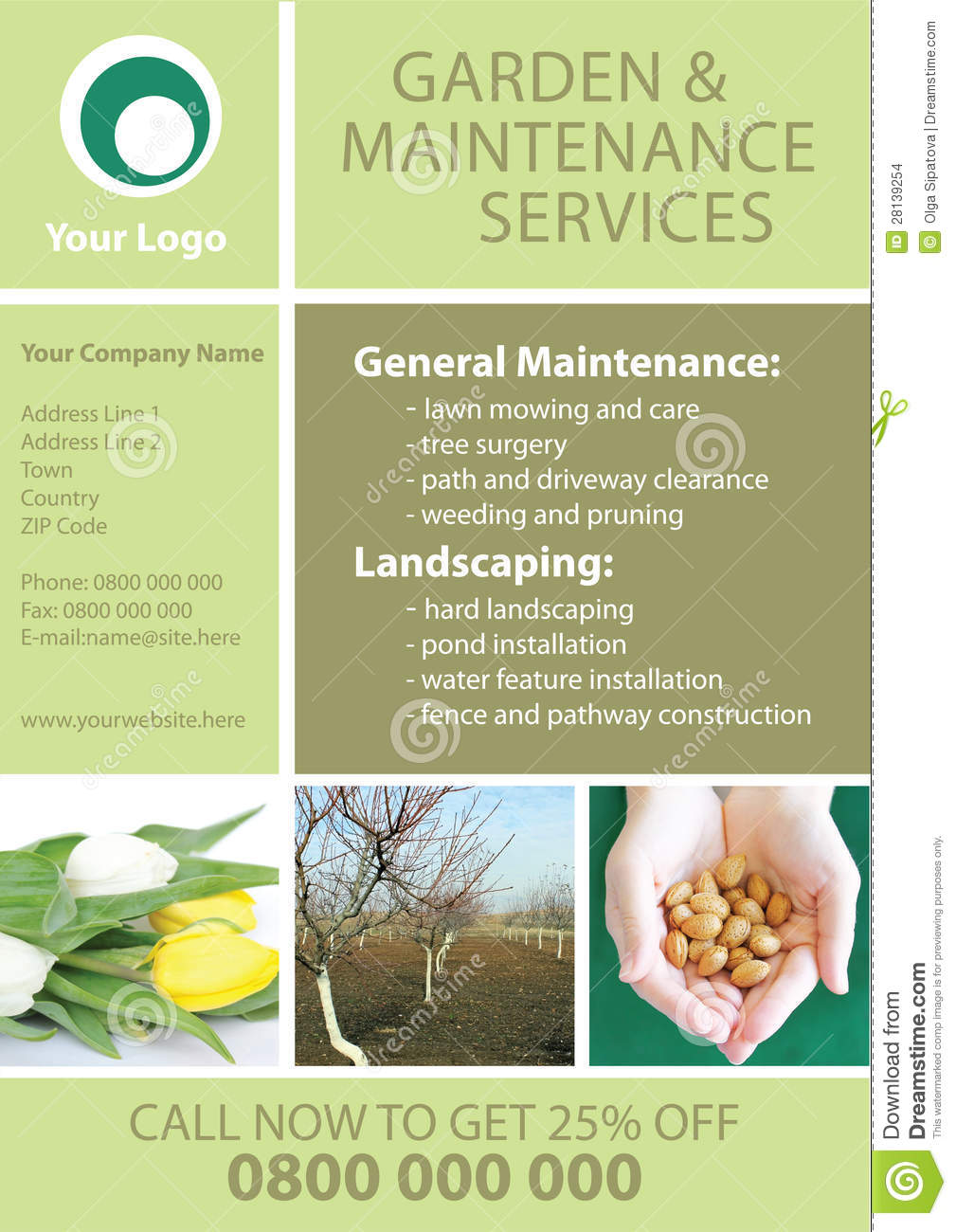 Garden and maintenance flyer template stock illustration for Gardening services
