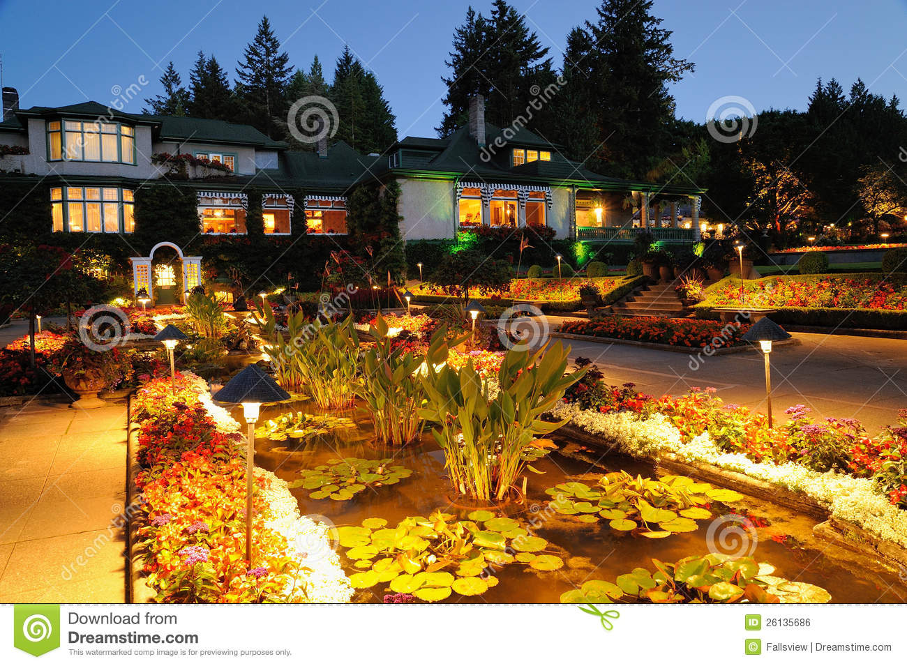 Garden night scene stock photo. Image of butchart, historical - 26135686